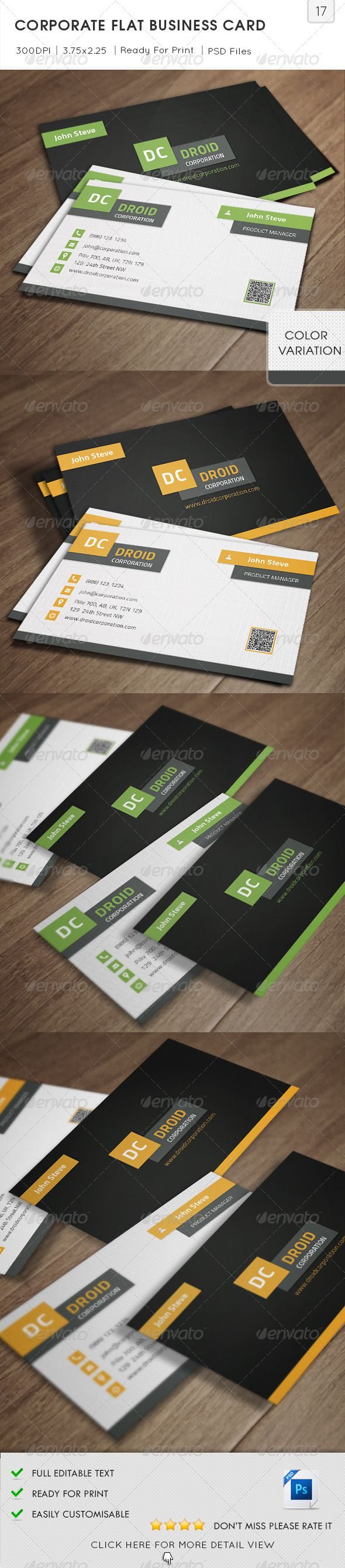 Corporate Flat Business Card v17  #GraphicRiver         Corporate Flat Business Card is especially for a Professional or Corporation and any other Industry type of Business. 2 Sided Business Card easy to modify.   Detail     Fully Layered PSD files  Fully Customizable and Editable  CMYK Setting  300 DPI High Resolution  Bleed Size: 3.75×2.25 in (1/8 in bleeds) (95.25×57.15 mm)  Standard Cut Size: 3.5×2 in (89×51 mm)  2 Color Variation  Print Ready Format  Horizontal…