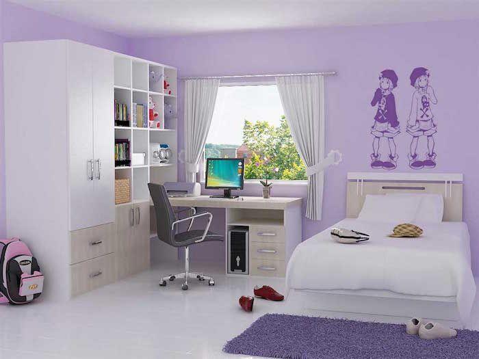 1001 Idees Couleur Mauve 50 Nuances De Violet Decoration Chambre Ado Idee Decoration Chambre Chambre Ado Fille Moderne