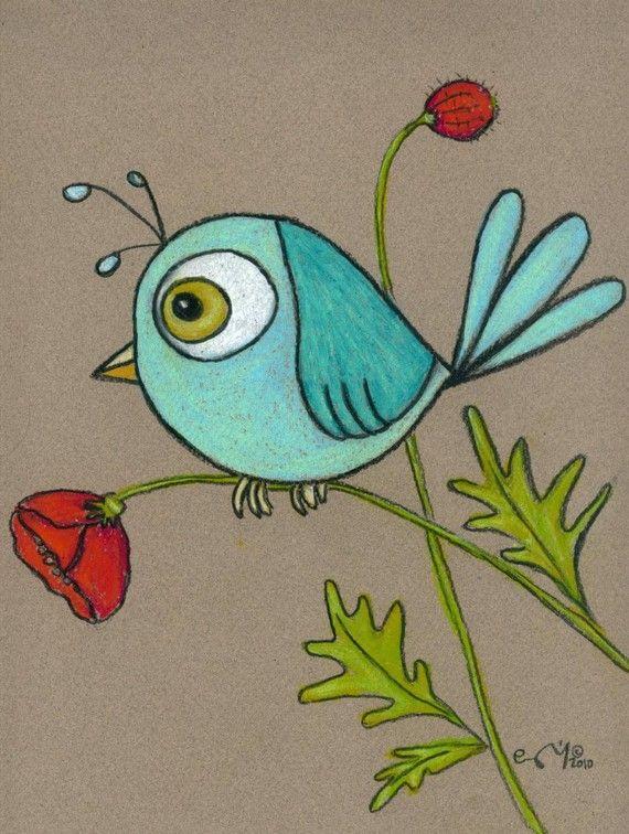 Blue Bird on Poppy print by kittybutt on Etsy.com
