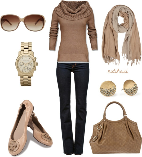 """""""Tan Fall Winter Outfit"""" by natihasi on Polyvore"""