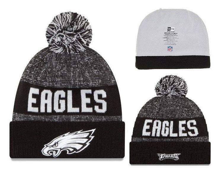 Men's / Women's Philadelphia Eagles New Era NFL 2016 Sideline Sports Knit Pom Pom Beanie Hat - Grey / Black / White