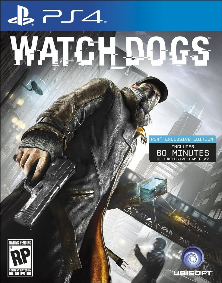 PS4 - Watch Dogs   http://www.amazon.com/Watch-Dogs-playstation-4/dp/B00BI83EVU/ref=sr_1_2_title_0?s=videogames=UTF8=1371413901=1-2=watch+dogs+ps4