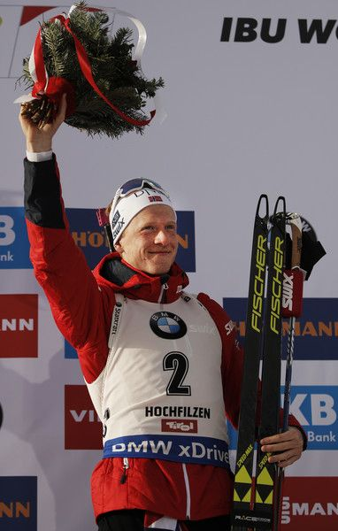 Johannes Thingnes Boe of Norway celebrates silver in the Men's 12.5km pursuit competition of the IBU World Championships Biathlon 2017 at the Biathlon Stadium Hochfilzen  on February 12, 2017 in Hochfilzen, Austria.