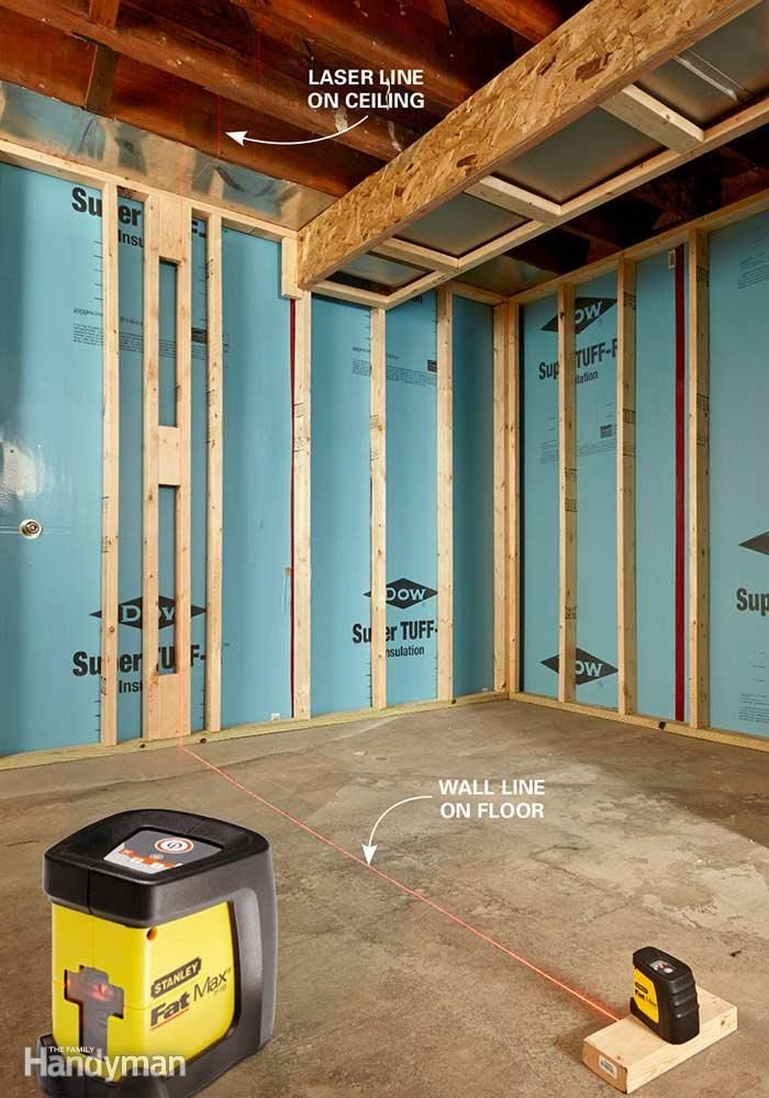 If you've been looking for an excuse to buy a laser level, this is it. Especially if you plan to stick-frame the walls—that is, build them in place rather than build them on the floor and stand them up. That's because with stick-framing you have to transfer the location of the bottom wall plate to the ceiling. You can do this with a straightedge and a regular level. But a laser is so much faster! Start by marking the wall locations on the floor with a chalk line. Then simply line up the…