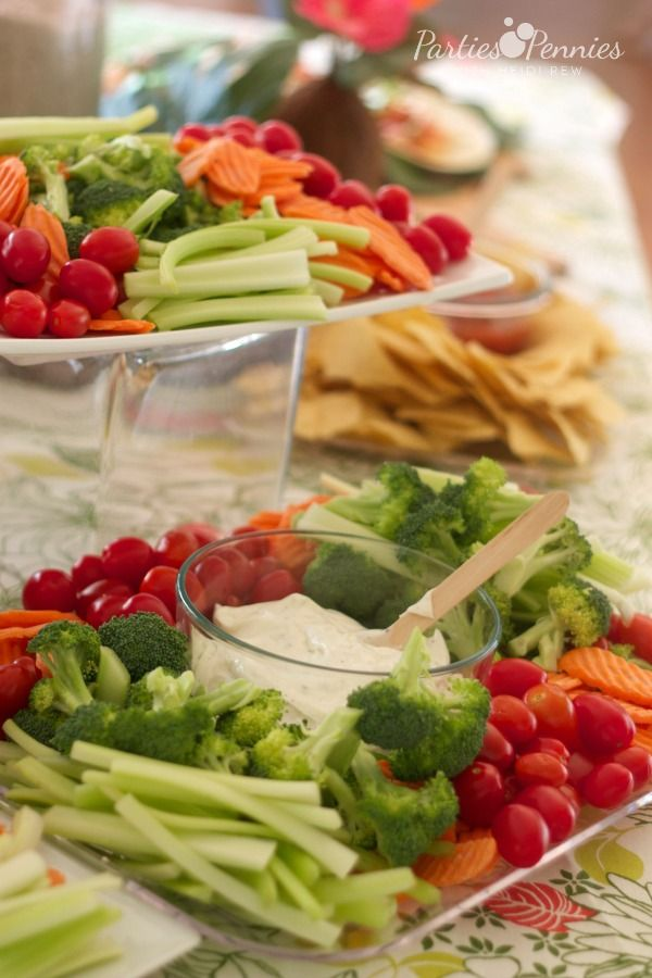 Luau Party by PartiesforPennies.com | Veggie Tray | #luau #partyfood