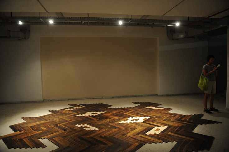 """Maria Loboda  What Will Happen?, 2007  wooden floor  dimensions variable  Courtesy of the artist & Artist Pension Trust (Berlin)  Installation view, 2nd Athens Biennale 2009 """"Heaven"""""""