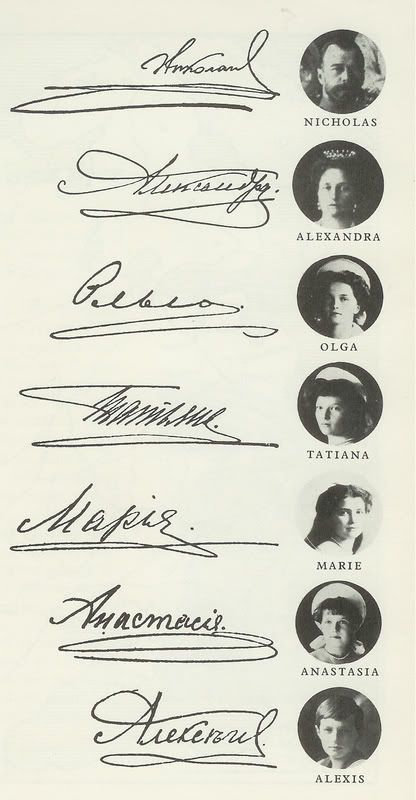 Imperial family's signatures. (People say that a signature may not have a line that goes backward cause it brings bad luck...)