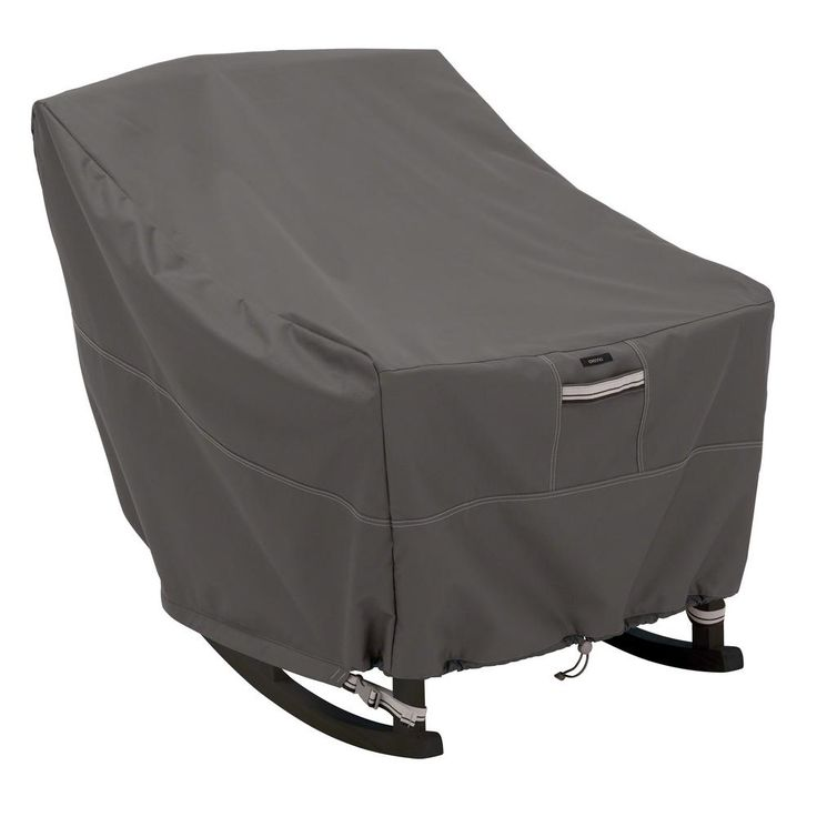 Classic Accessories Ravenna Patio Rocking Chair Cover, Dark Taupe With Mushroom And Expresso Details
