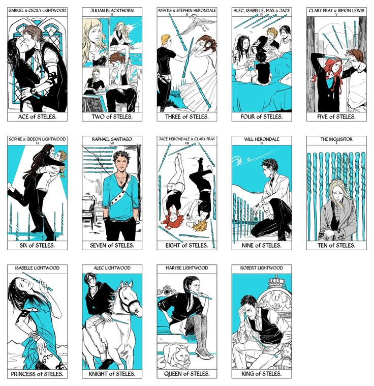 UPDATED Tarot Deck Part 5/6: The Stele cards of the Minor Arcana portion of the Tarot Deck done by Cassandra Jean featuring characters from Cassandra Clare's books. ( TMI, TID, TDA, and TLH) WARNING: Spoilers in cards