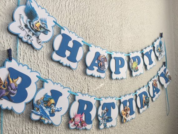 Skylanders Personalized Banner/ cake topper/ paper by YulisCraft
