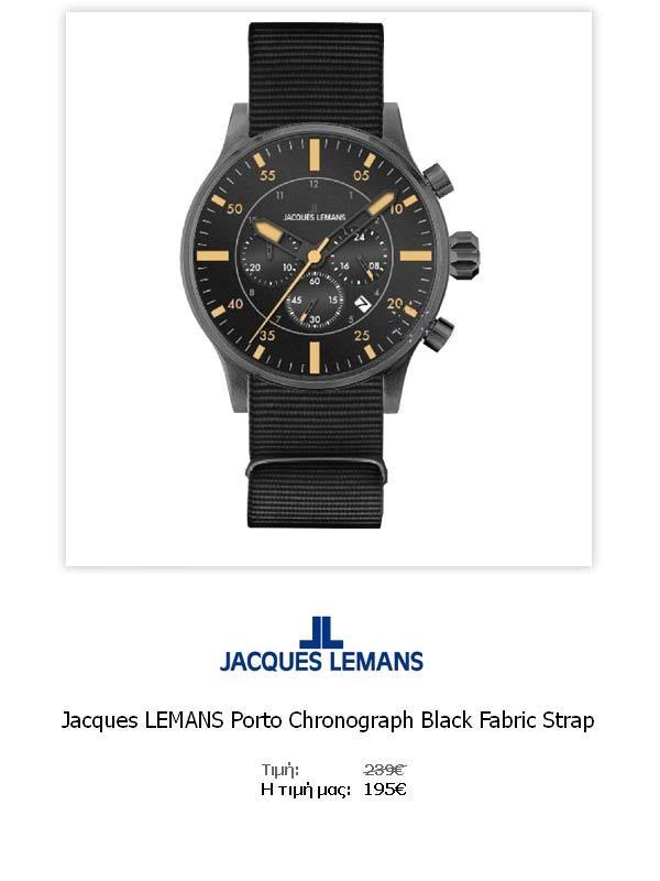Jacques LEMANS Porto Chronograph Black Fabric Strap  1-1749C  Όλες οι λεπτομέρειεςτου ρολογιού εδώ   http://www.oroloi.gr/product_info.php?products_id=31777