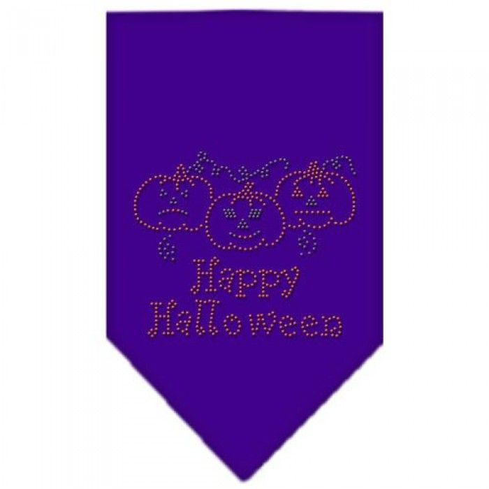 Happy Halloween Rhinestone Bandana Purple Small  Our #bandanas are 100% cotton with overlock stitching on the hems to ensure rugged durability, free from fraying and raveling.