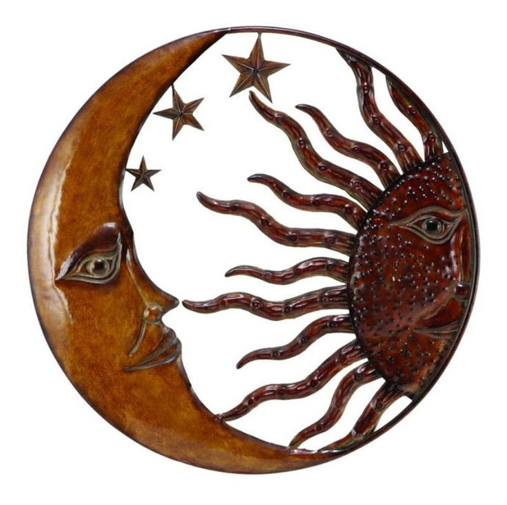 Metal Sun Moon Wall Decor With Antique Brown Look.  Wall Decor with great Decor sense. Support your existing wall Decor with 63767 Metal SUN MOON WALL Decor. It is an excellent anytime low priced wall Decor upgrade option for everyone. Just have a look over it, you will fall in instant love with its beauty. * Size :  22.05 High 22.05 Wide 13.39 Deep (Inches) (min. aprox. dimensions) * Material : Rust free metal alloy sculptured in sun shape with fish theme* Color : Antique brown with…
