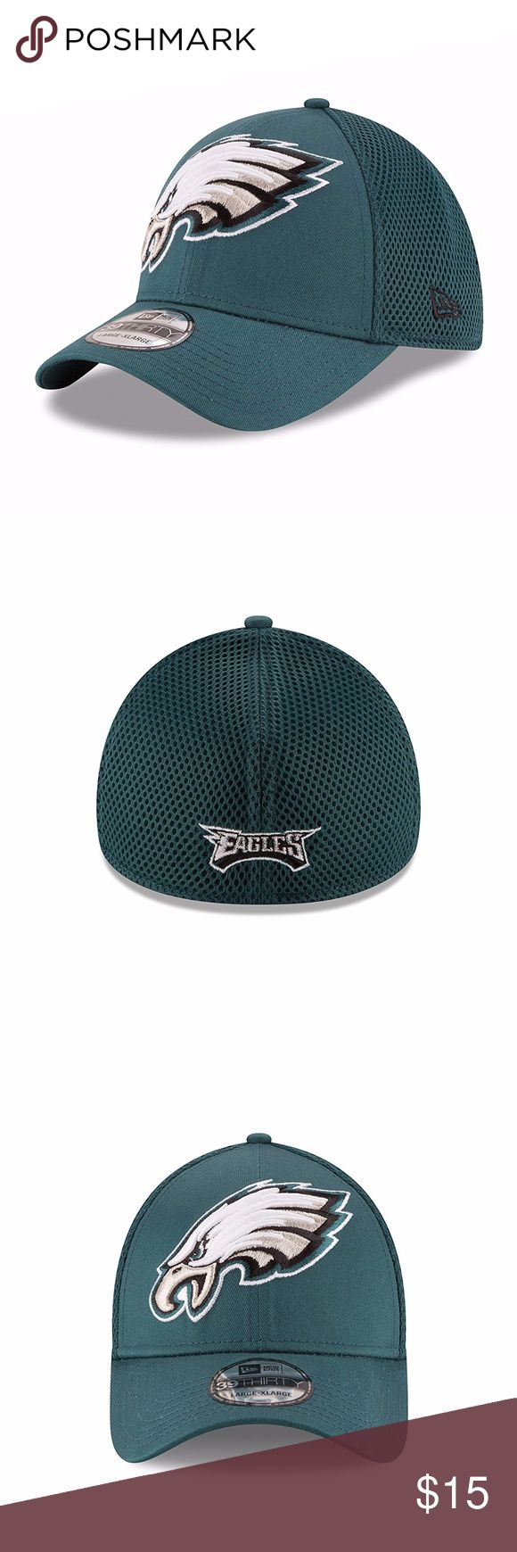 Philadelphia Eagles Mega Team Neo 39THIRTY Cap Brand New Officially Licensed with tags. This Philadelphia Eagles New Era Mega Team Neo 39THIRTY features bold embroidered Eagles logo on the front and embroidered name on the back with stretch fit.  Lg-XLG (7 5/8- 7 3/4)(60.6cm-63.5cm) New Era Accessories Hats