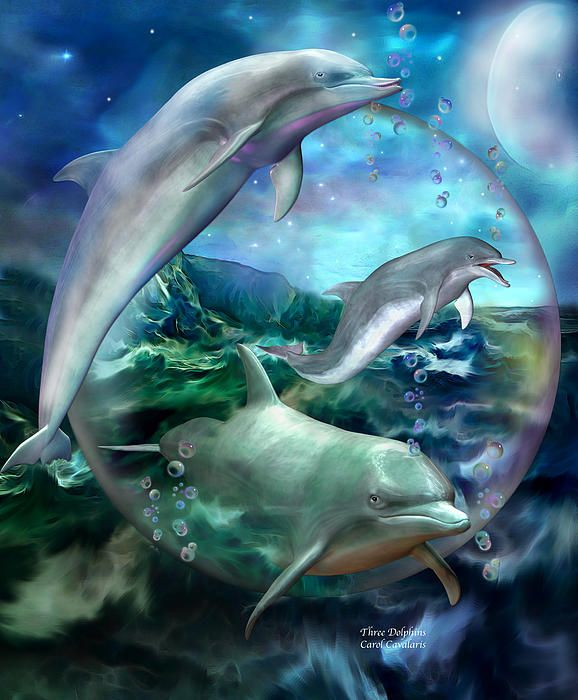 Three dolphins Spirits of intuition Dancing in a joyful dream Upon a moonlit sea Of blue and green.  Three Dolphins prose by Carol Cavalaris  This painting of three dolphins, inside a big iridescent bubble and dancing on blue green waves, is from the 'Beauty In Nature' collection of art by Carol Cavalaris.