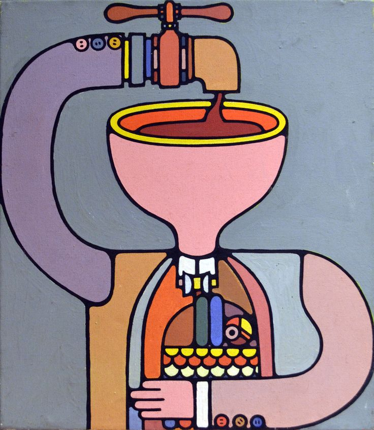 Arm as tap in head. Painting for Epicurean magazine 1966–79, Melbourne. Oil on canvas. Les Mason.