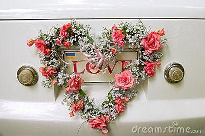 Wedding car decoration close-up