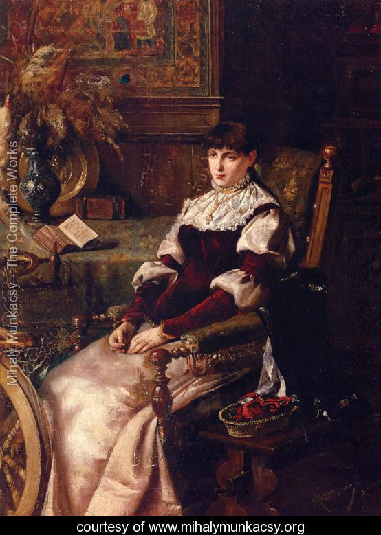 Lady With Spinning Wheel - Mihaly Munkacsy - www.mihalymunkacsy.org