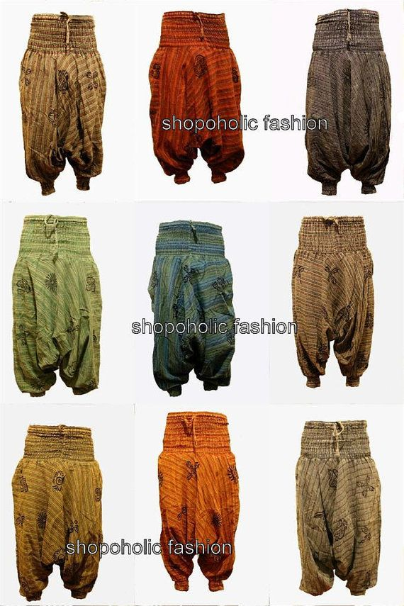 Stonewash Cotton Stripes Harem Trouser,Loose Multicolour Hippy Pants,Hippie,Boho