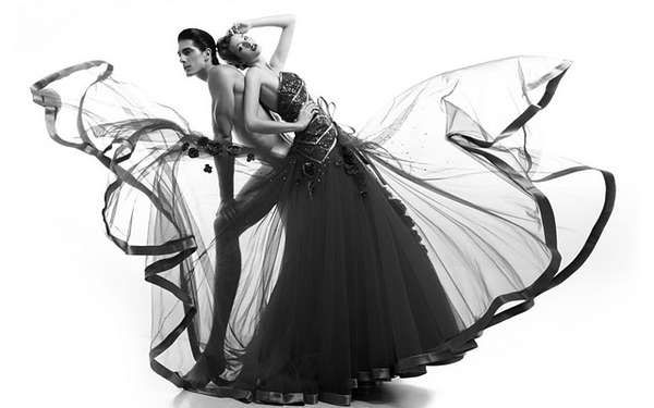 @trendhunters, fashion# beautiful black and white photos of models in evening gowns blowing in the wind