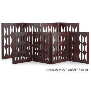 4-Panel Geo Cutout Wood Freestanding Dog Gate - Dog Beds, Gates, Crates, Collars, Toys, Dog Clothing & Gifts