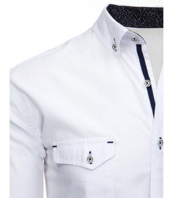 Biela pánska košela s dlhými rukávmi