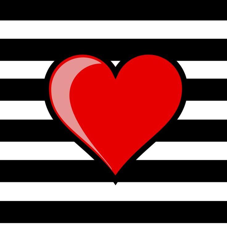 Imagens para imprimir - plano de fundo listrado preto e branco - coração - Blog Dikas e diy