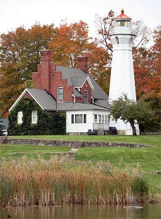 Port Sanilac Lighthouse, located in Port Sanilac, Michigan, near the Marina--LHF-history