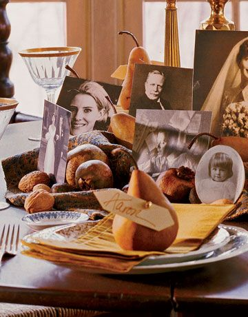 I LOVE this... include photos of family members on the table.