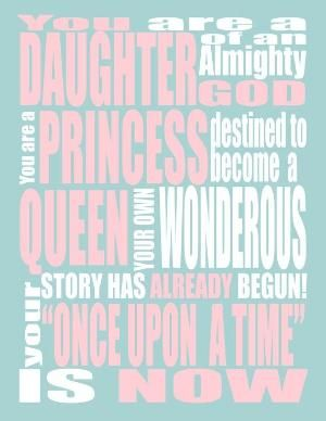 Pink Princess INSPIRATIONAL QUOTE - You are a Princess - Wall Art - LDS Art- Christian Art. by MDeanH