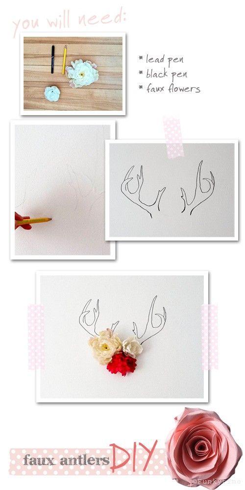 a faire soi même .oOo.: Flowers Diy, Antlers Cards, Diy Faux, Diy Antlers, Antlers Wall, Antlers Diy, Faux Antlers, Antlers Art, Diy Pictures