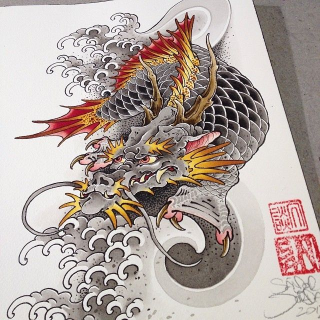 32 best dragon koi fish tattoos images on pinterest for Black dragon koi