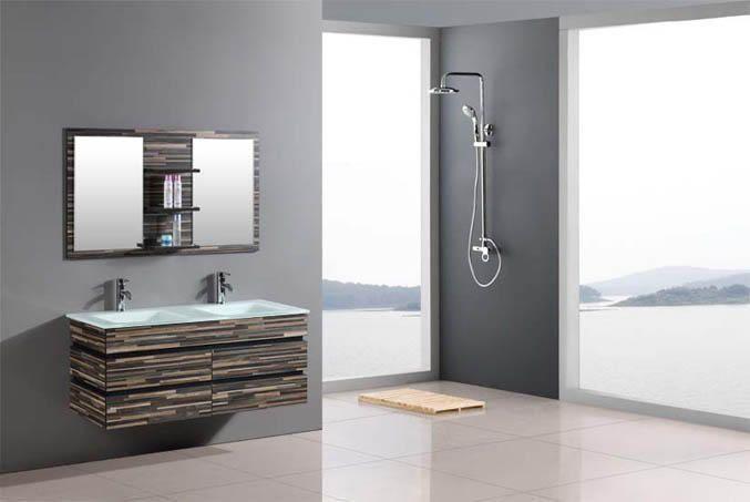 Ensemble meuble salle de bain bois massif CAMOUFLAGE 140cm Grand meuble salle de bain beau double vasque CAMOUFLAGE ,Rangement 1400mm [BRYE1448] - 699,00€ :