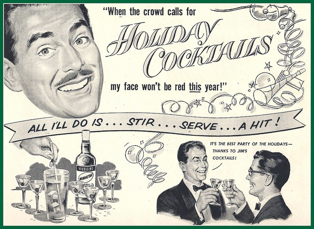 1953 Christmas Ready to make cocktails, Hubleins by mcudeque, via Flickr