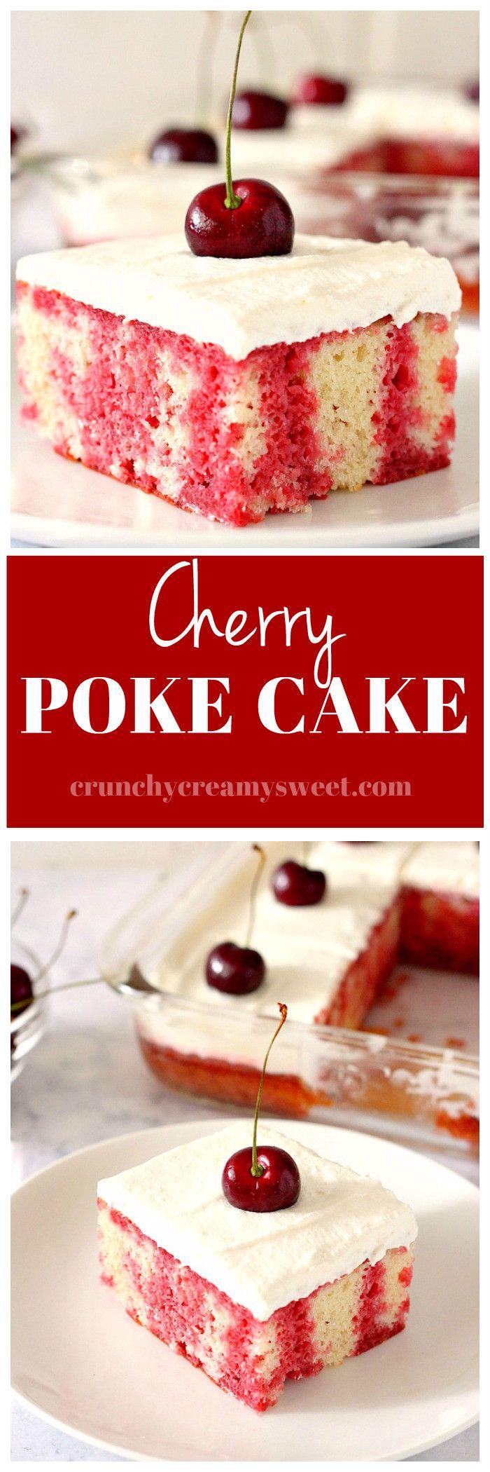 Cherry Poke Cake Recipe - fluffy vanilla cake with dark cherry jello, topped with whipped cream topping and fresh sweet cherries. www.crunchycreamysweet.com