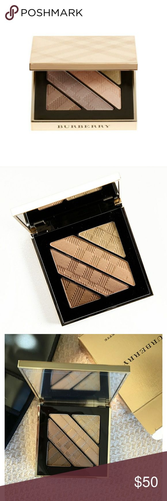 """NEW Burberry Complete Eye Pallette Brand New in box Burberry Complete Eye Palette (4) enhancing colors """"gold Shimmer No.28"""" comes with box, velvet carrying case, & 3 mini brushes. (ALWAYS ALL AUTHENTIC) I also have the other matching Burberry pieces listed in my closet bundle & Save, I offer 15% off 3 or more items. BRAND NEW!! Burberry Makeup Eyeshadow"""
