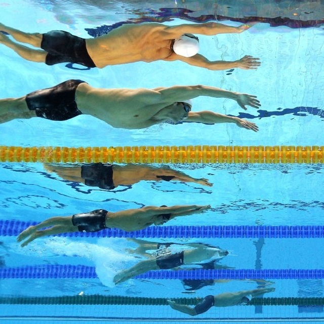Michael Phelps / Photo Taken From The Bottom Of The 2012 London Olympics  Swimming Pool.