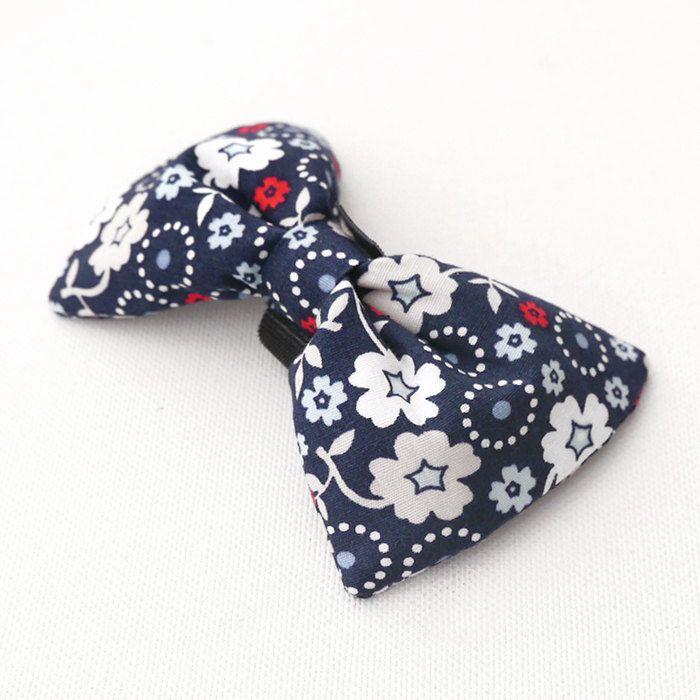 Dog Bow Tie Dark Blue Pet Bow Tie Bowtie Collar Attachment Model Demeter floral pattern Psiakrew by PSIAKREW on Etsy