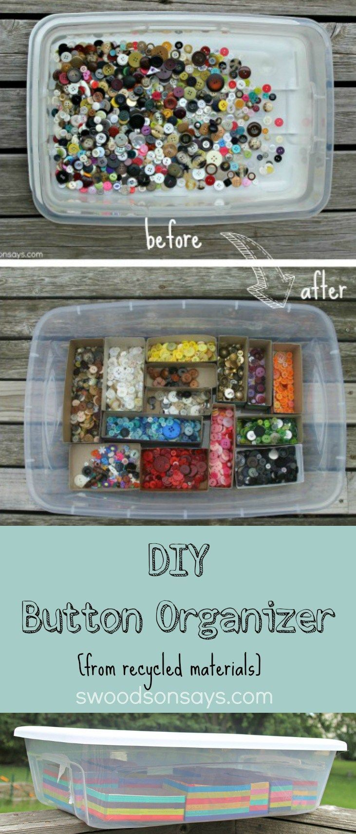 DIY Button Upcycled Recycled Organizer - this is an easy way to organize buttons! No fancy tools, just takes a little time and patience; made from recycled materials.