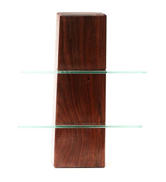 Walnut free standing shelving unit with two glass shelves, low gloss surface available at https://www.etsy.com/listing/108481703/walnut-free-standing-shelving-unit-with?ref=related-0