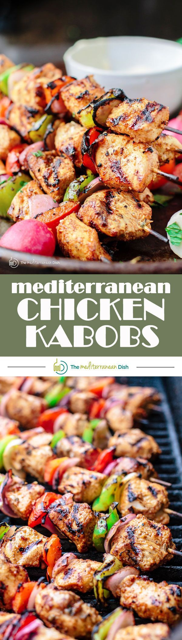 Mediterranean Grilled Chicken Kabobs Recipe + Cayenne Tahini Sauce! Make chicken kabobs like a pro and be the hero of the party! Marinated in Mediterranean spices with fresh garlic and lime juice, these kabobs are simply succulent! Try them for your next