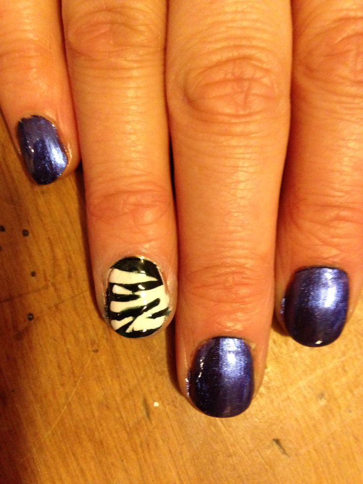 Zebra feature nail with China Glaze 'Want My Bawdy' - for Bonnie.