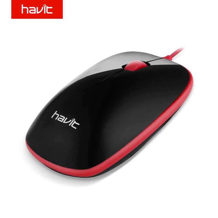 HAVIT Protable Wired Optical Mouse 1000DPI Long Service Life Convenient Small Mouse for PC Laptop Desktop Fit Both Hand HV-MS705