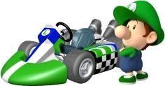 Baby Luigi And His Kart From The Official Artwork Set For Mariokart Wii Visit For More Info Http Www Superluigibros Com Mario Mario Kart Juegos Figuritas