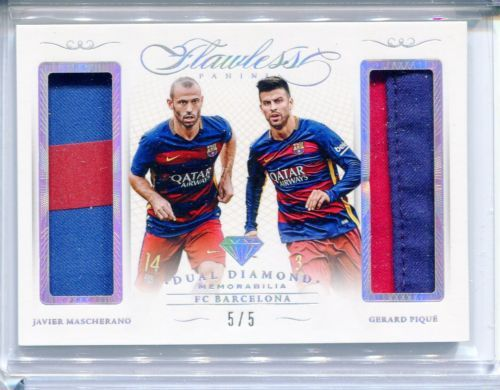 2015-16 Panini Flawless Javier Mascherano Gerard Pique Dual Jersey Patch 5/5