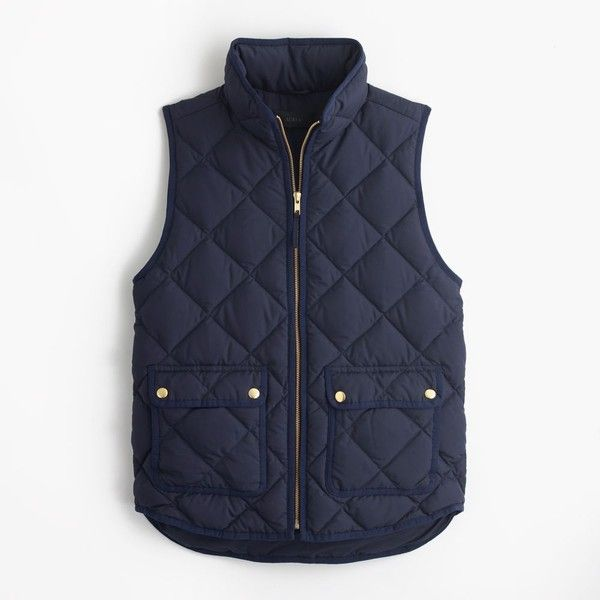 J.Crew Excursion quilted down vest ($100) ❤ liked on Polyvore featuring outerwear, vests, slim fit vest, lightweight quilted vest, j.crew, j crew vest and down filled vest