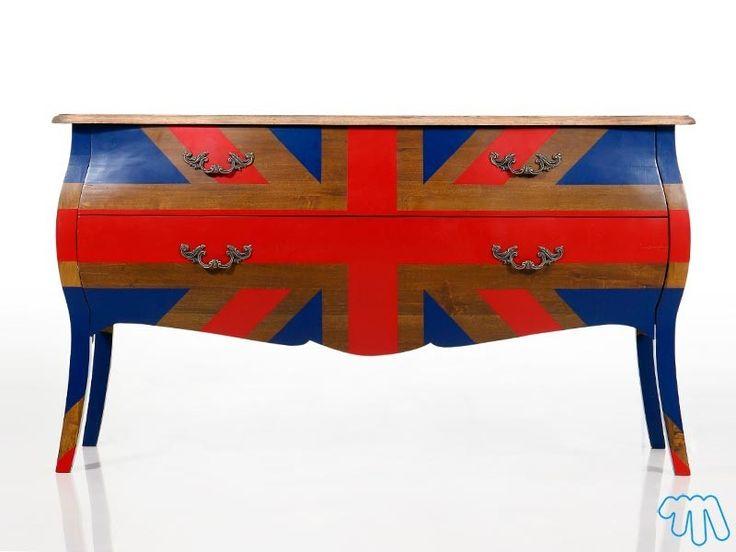 Meuble design commode vintage drapeau anglais wimbledon for Meuble commode en anglais