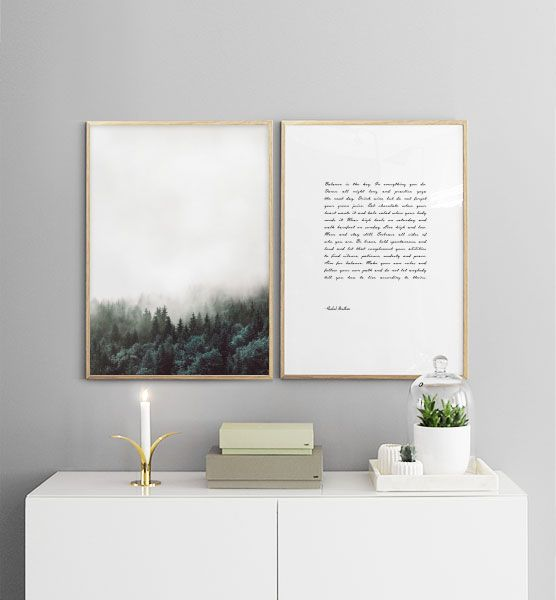 Poster with Scandinavian design. Art poster with forest and nature.