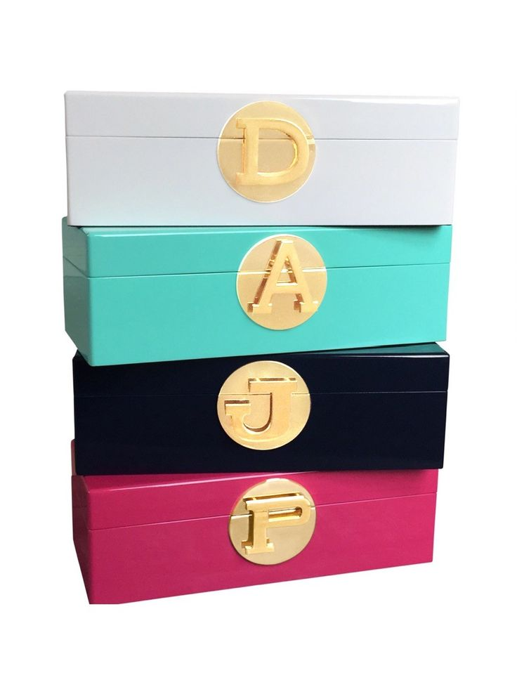 Available in 4 gorgeous colours and 16 initials. Lined in beautiful velvet, these are the perfect gift... for yourself or for someone special.  The stunning gold initial clasp means they are a highly personalised gift. They are ideal for storing special bits and pieces, or even hiding the remotes on the coffee table!