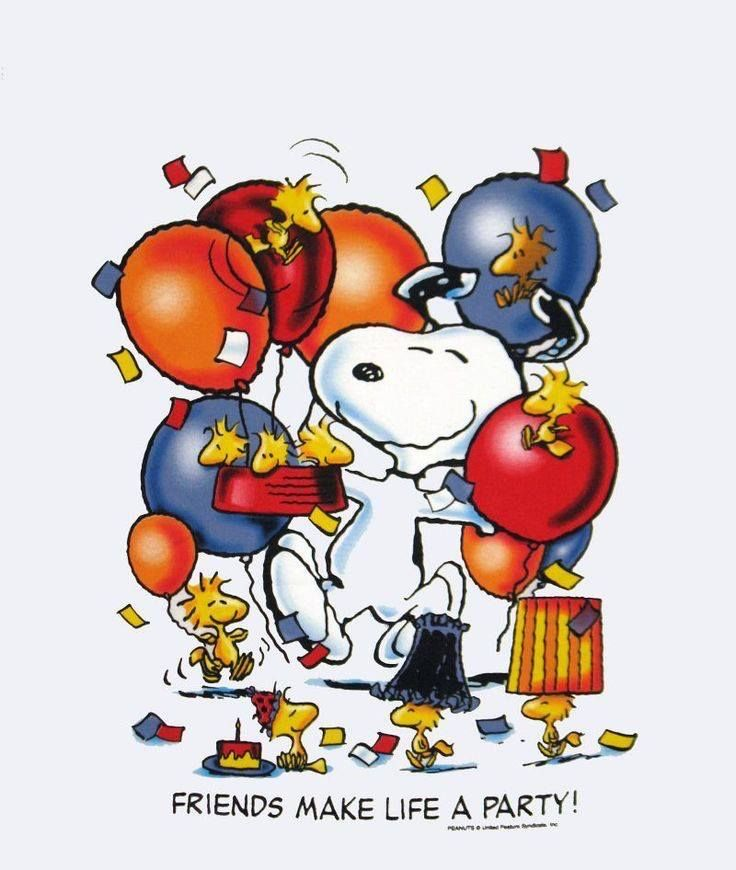 Friends make life a party! Snoopy and friends.